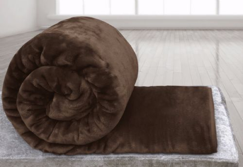 BROWN COLOUR SUPER SOFT PLUSH MINK THROW
